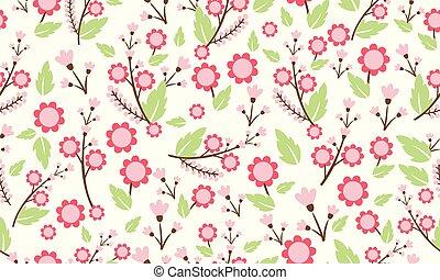 Elegant wallpaper for spring floral pattern background, with leaf and flower ornate.