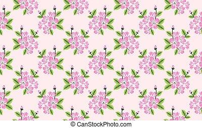 Elegant wallpaper for spring, with leaf and flower pattern background.