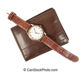 elegant watch and wallet