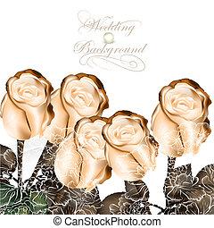 Elegant wedding background with beige roses