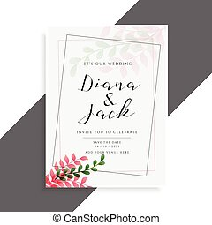 elegant wedding card design with cute leaves