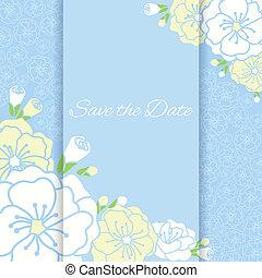 Elegant wedding card with flower.