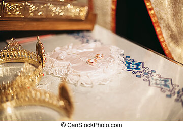 Elegant wedding crown or tiara preparing for marriage in church