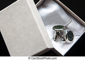 Elegant wedding cufflinks for a classic suit in the box
