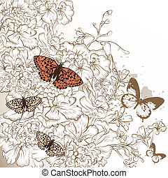 Elegant wedding design with hand drawn flowers and butterflies