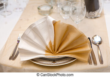 Elegant wedding dinner in beige