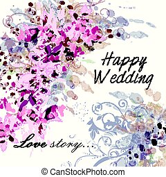 Elegant wedding invitation card in soft pink and purple colors. Classic design, love story.eps