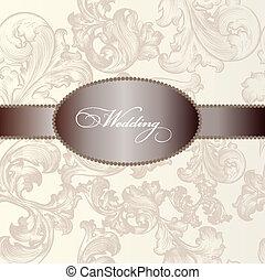 Elegant wedding invitation card - Vector hand drawn...