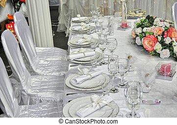 Elegant wedding table place settings