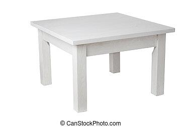 elegant, weißes, tisch, mit, ausschnitt weg