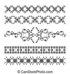 elegant, weinlese, satz, dekorationen, calligraphic