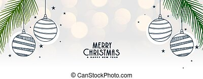 elegant white merry christmas banner with balls decoration