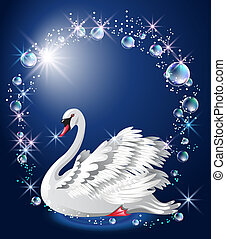 Elegant white swan and bubbles - Elegant white swan on blue...