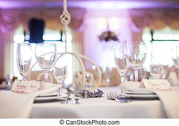 Elegant wine & champagne glasses at wedding reception closeup