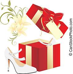 elegant, witte schoenen, cadeau