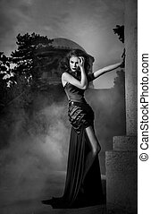 elegant, witte , vrouw, zwarte jurk