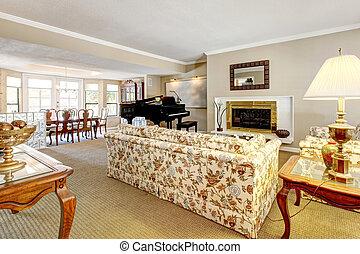 Wohnzimmer, elegant, inneneinrichtung, klavier, fireplace ...
