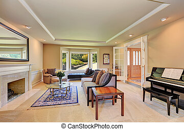 Wohnzimmer, klassisch, elegant, grün, piano., kaminofen.