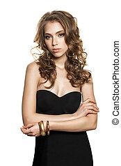 Elegant Woman Fashion Model in Black Dress Isolated on White Background