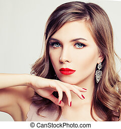 Elegant Woman Fashion Model. Trendy Makeup and  Permed Hairstyle