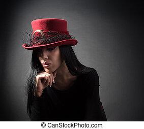 Elegant woman in hat
