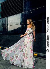Elegant woman in long dress - Full growth portrait of ...