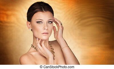 elegant, woman., närbild, skönhet, stående