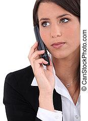 Elegant woman on phone