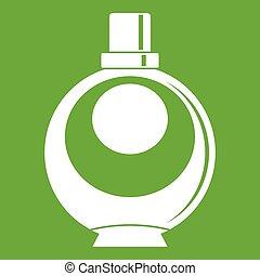 Elegant woman perfume round glass bottle icon green
