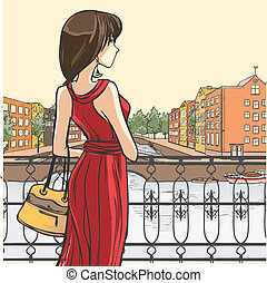 Series Urban fashion. Street panorama, architectural structures, bridges. Elegant lady in red dress stands by the parapet