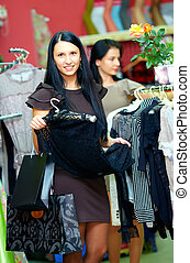 elegant woman shopping in retail store