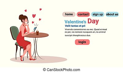 elegant woman sitting at table in cafe happy valentines day concept girl using smartphone video conversation with man lovers couple chatting online isolated horizontal