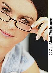 Elegant woman wearing eyeglasses