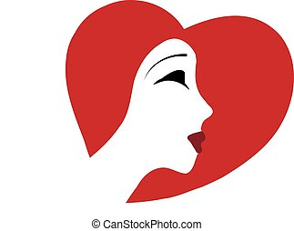 elegant woman with a hat in form of a heart