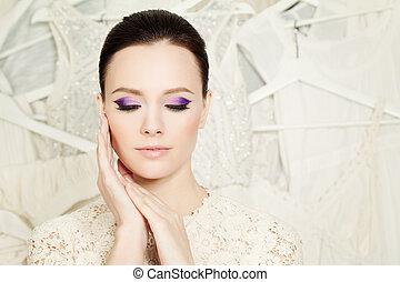 Elegant Woman with Beautiful Makeup