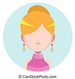 Elegant woman with earrings - flat avatar