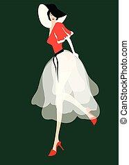 elegant woman with flowy dress