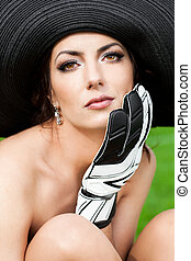 Elegant woman with Football Goalkeeper Glove
