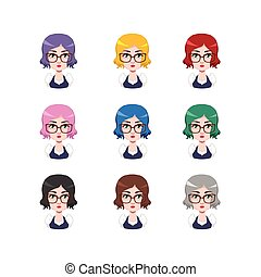 Elegant woman with glasses - 9 different hair colors