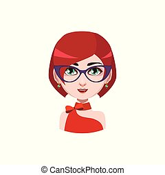 Elegant woman with glasses - red hair color