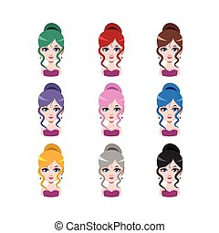 Elegant woman with hair in a bun - 9 different hair colors