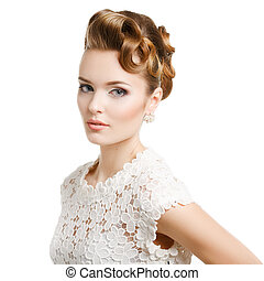 Elegant woman with hair on white background