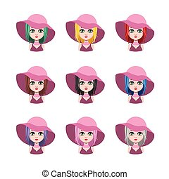 Elegant woman with hat - 9 different hair colors