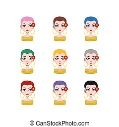 Elegant woman with short hair - 9 different hair colors