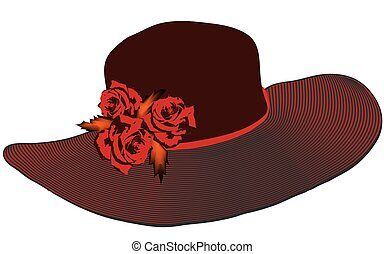Elegant women hat with striped brim and roses in black and red colors isolated on white