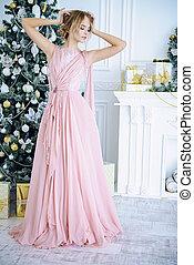 elegant x-mas girl - Christmas, winter holidays concept....