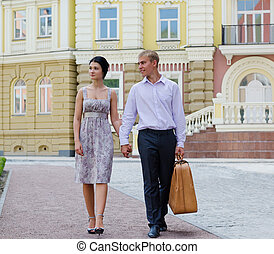 Elegant young couple on vacation