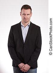 Elegant young man in black jacket