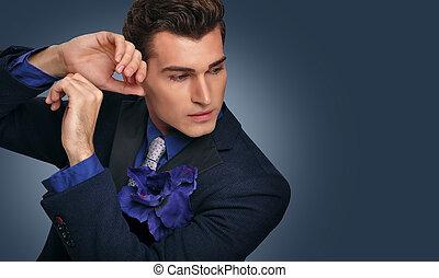 Elegant young man in jacket. Fashi