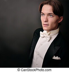 Elegant young man in suit